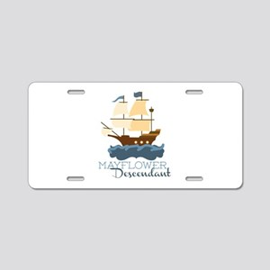 Mayflower Descendant Aluminum License Plate