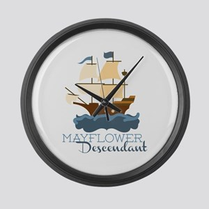 Mayflower Descendant Large Wall Clock