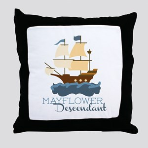 Mayflower Descendant Throw Pillow