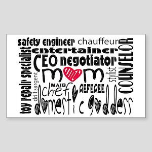 Stay at home mom job descripti Sticker (Rectangle)
