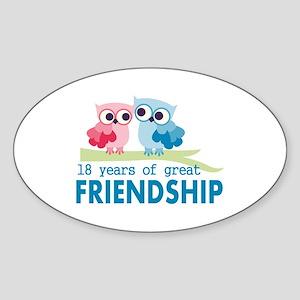 18th Anniversary Owl Wedding Annive Sticker (Oval)