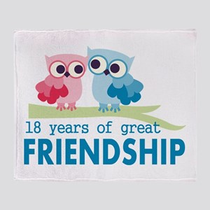 18th Anniversary Owl Wedding Anniver Throw Blanket