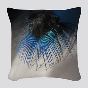 Peacock2 Woven Throw Pillow
