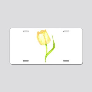 Yellow Tulip Aluminum License Plate
