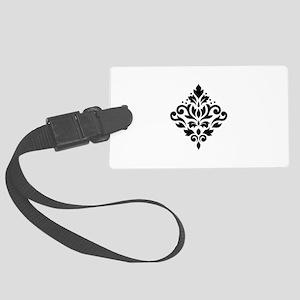 Scroll Damask Design Black on White Large Luggage