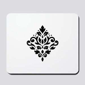 Scroll Damask Design Black on White Mousepad