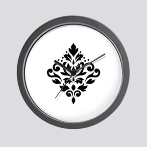 Scroll Damask Design Black on White Wall Clock