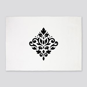 Scroll Damask Design Black on White 5'x7'Area Rug