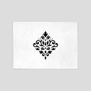 Scroll Damask Design Black on White 5'x7'Area Rug