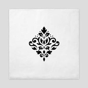 Scroll Damask Design Black On White Queen Duvet