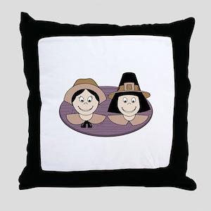 Pilgrim Couple Throw Pillow
