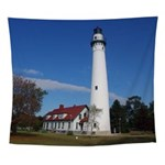 Wind Point Lighthouse Wall Tapestry