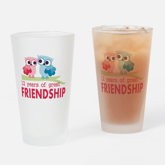12th Anniversary Owl Design Drinking Glass
