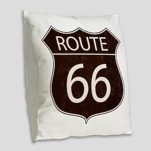 Route 66 Road Sign Burlap Throw Pillow
