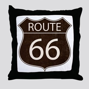 Route 66 Road Sign Throw Pillow