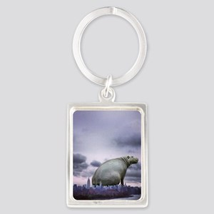 City Hippo Portrait Keychain