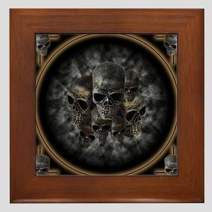Old metal skulls in the mist Framed Tile