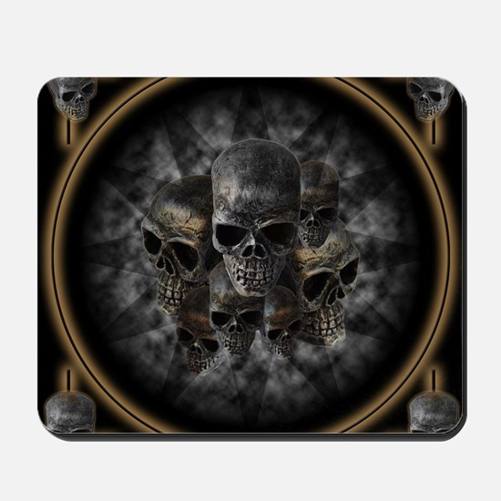 Old metal skulls in the mist Mousepad