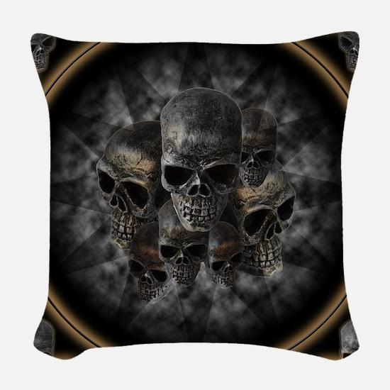 Old metal skulls in the mist Woven Throw Pillow