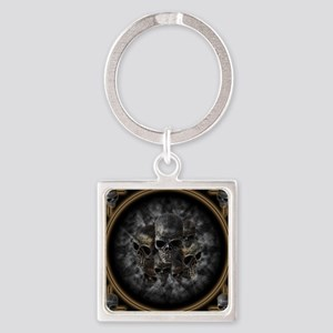 Old metal skulls in the mist Square Keychain