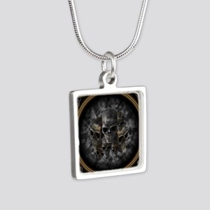 Old metal skulls in the mi Silver Square Necklace