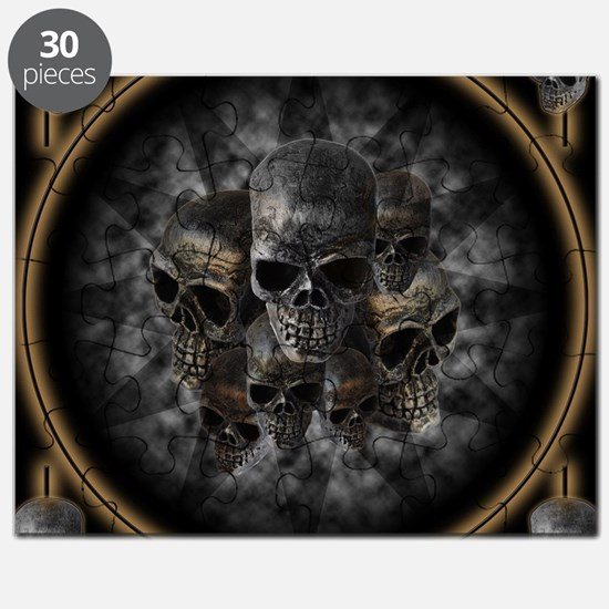 Old metal skulls in the mist Puzzle