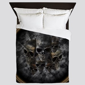 Old metal skulls in the mist Queen Duvet
