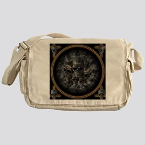 Old metal skulls in the mist Messenger Bag