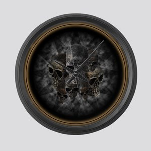 Old metal skulls in the mist Large Wall Clock