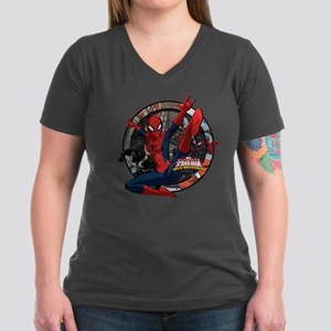 Web Warriors Spider-Gi Women's V-Neck Dark T-Shirt