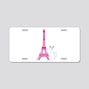 White Cat Pink Eiffel Tower Aluminum License Plate