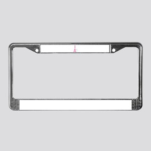 White Cat Pink Eiffel Tower License Plate Frame