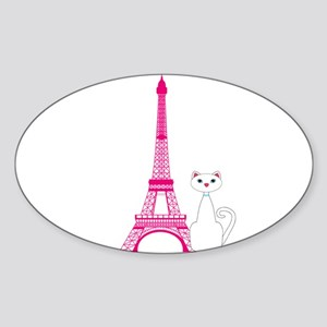 White Cat Pink Eiffel Tower Sticker