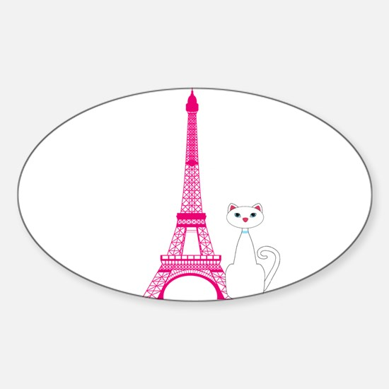 White Cat Pink Eiffel Tower Decal