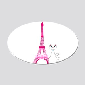 White Cat Pink Eiffel Tower Wall Decal