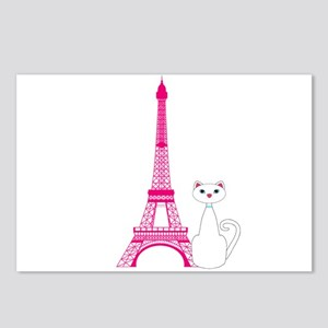 White Cat Pink Eiffel Tower Postcards (Package of