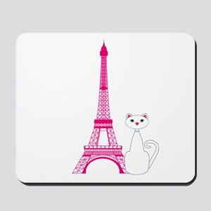 White Cat Pink Eiffel Tower Mousepad
