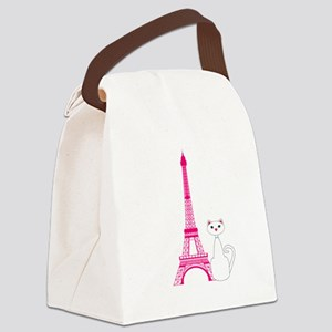White Cat Pink Eiffel Tower Canvas Lunch Bag