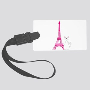 White Cat Pink Eiffel Tower Luggage Tag