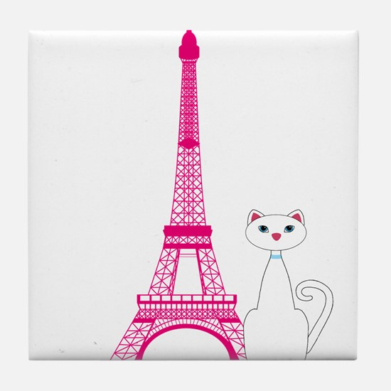 White Cat Pink Eiffel Tower Tile Coaster