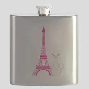White Cat Pink Eiffel Tower Flask