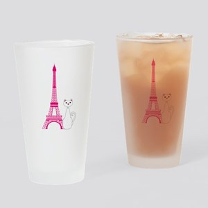 White Cat Pink Eiffel Tower Drinking Glass