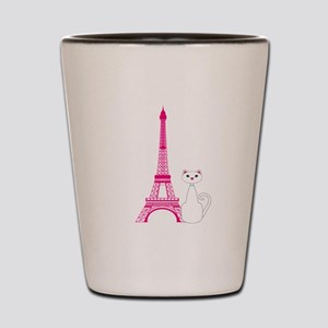 White Cat Pink Eiffel Tower Shot Glass