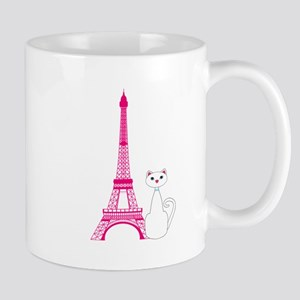 White Cat Pink Eiffel Tower Mugs