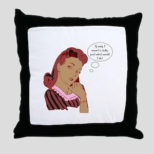 Retro Lady Throw Pillow