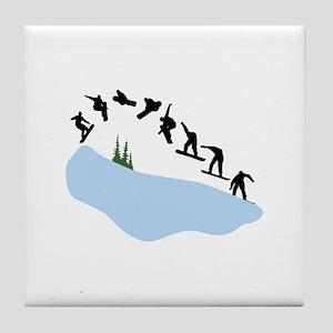 Snowboarding Trick Graphic Tile Coaster