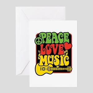 Rasta Peace Love Music Greeting Cards
