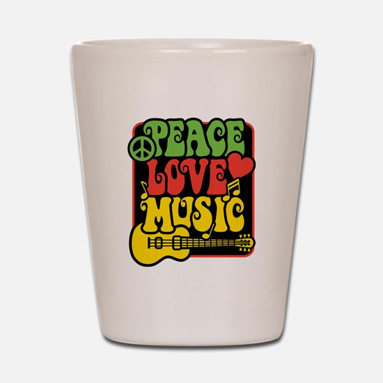 Unique Peace love music Shot Glass