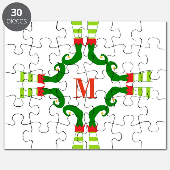 Personalizable Christmas Elf Feet Initial Puzzle