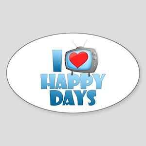 I Heart Happy Days Oval Sticker